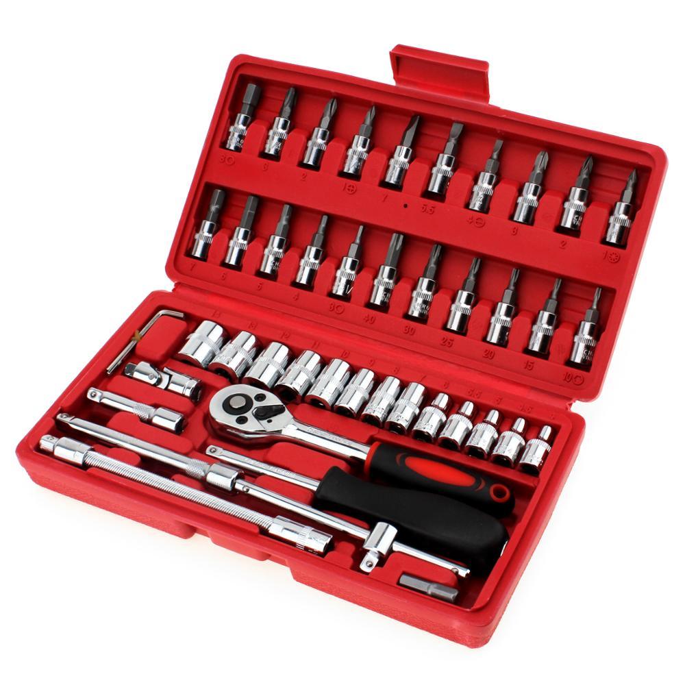 ابزار تعمیر ماشین 46pcs / lot 1/4 اینچ سوکت مجموعه ابزار تعمیر ماشین Ratchet Torque Wrench Combo Tools کیت ابزار ابزار تعمیر
