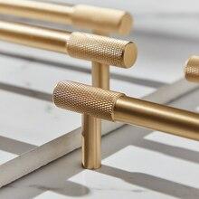 Атласная латунная Алмазная рифленая/текстурированная ручка для шкафа, кухонный шкаф, дверные ручки, Мебельная ручка, Т-образная фурнитура для шкафа