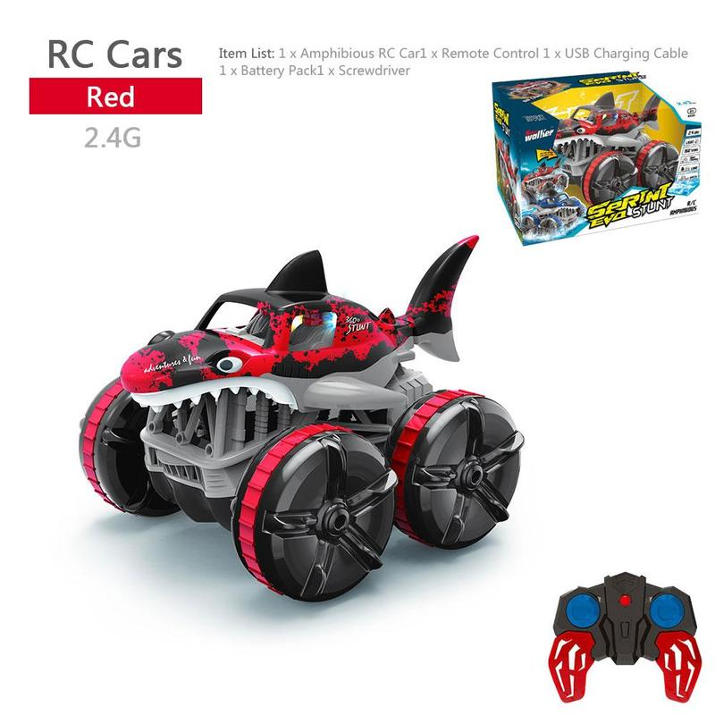 Amphibious grass shark light remote control car boy toy car gift for children