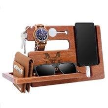 Personalizado sapele madeira titular do telefone oem gravado seu nome logotipo de madeira docking station men carteira assista óculos de sol organizador