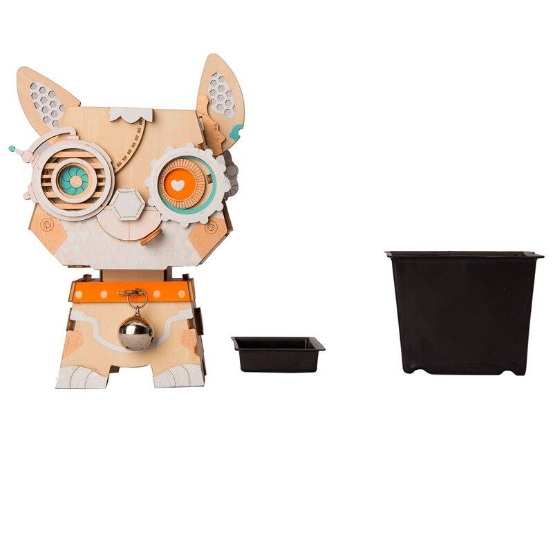 Robotime 3D Wooden Puppy Puzzle Game Creative Flower Pot Storage Box Pen Holder Model Building Kit Children'S Toys Adult