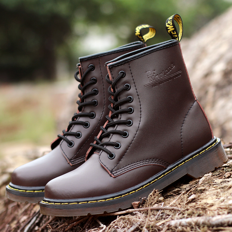 British Boots Men Elegant Work Shoes Warm Mens Shoes Casual Couple Split Leather Boots Autumn Winter  Ankle Boots Size 35-46