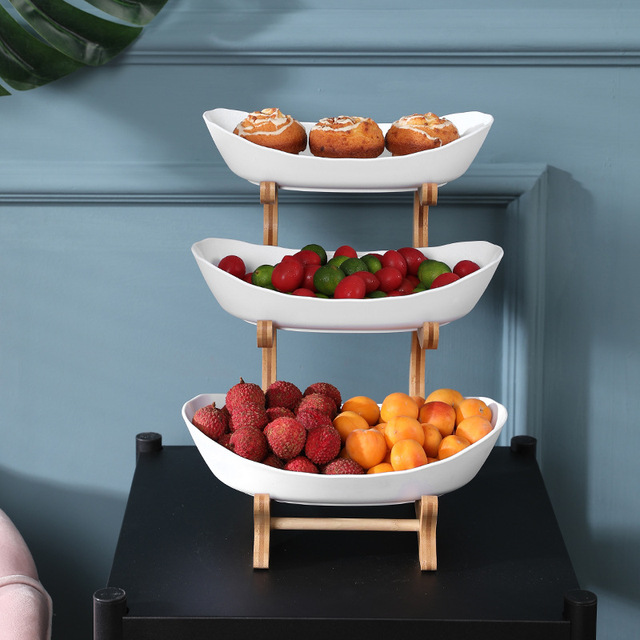 2/3 Tiers Plastic Fruit Plates With Wood Holder Oval Serving Bowls for Party Food Server Display Stand Fruit Candy Dish Shelves 3