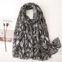 Leopard Snakeskin Cotton Linen Scarf Classic  Pattern Fashion Voile Shawl Tiger Warm New  Women Scarf stylish stripes pattern black and white voile bib scarf for women