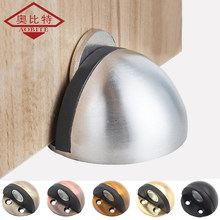 AOBT Sliver Punch-free Sticker Hidden Stainless Steel Rubber Door Stopper Door Holders Catch Floor Mounted Nail-free Door Stops