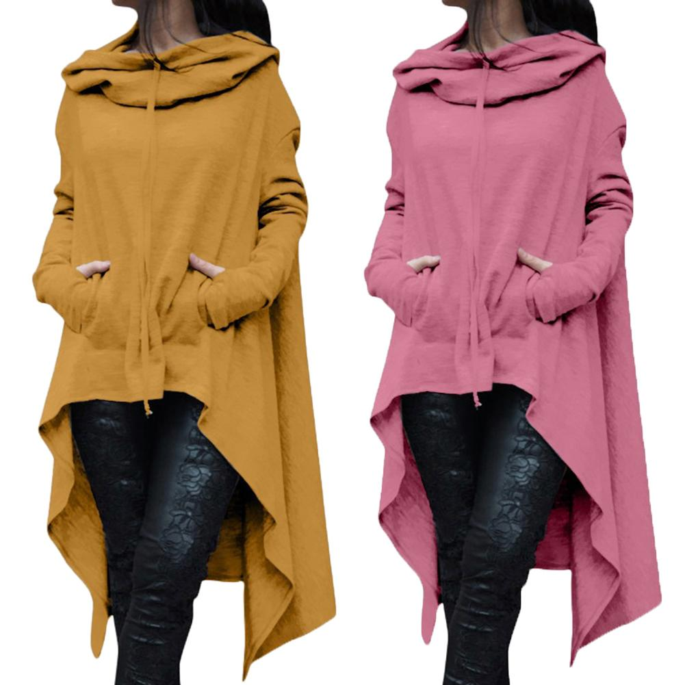 Autumn Plus Size Women Asymmetric Hoodie Solid Color Long Sleeve Hem Fishtail Hoodie Sweatshirt Pullover Women's Hoodies