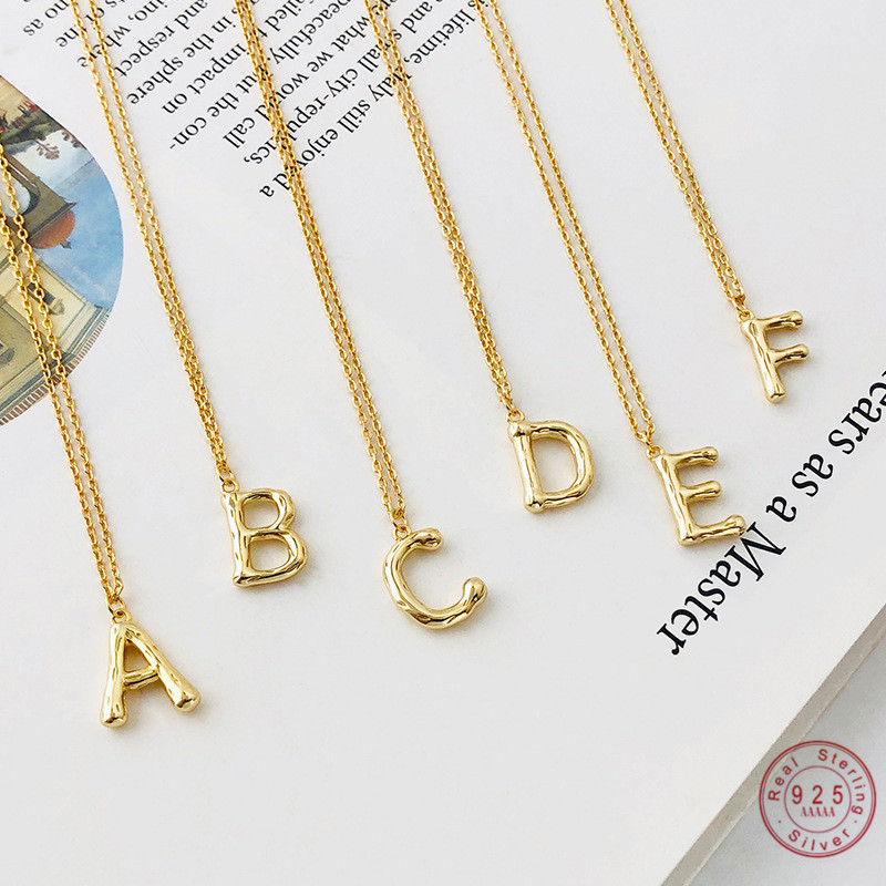 925 sterling silver simple geometric initial letter pendant necklace female commemorative reminder jewelry accessories friendshi