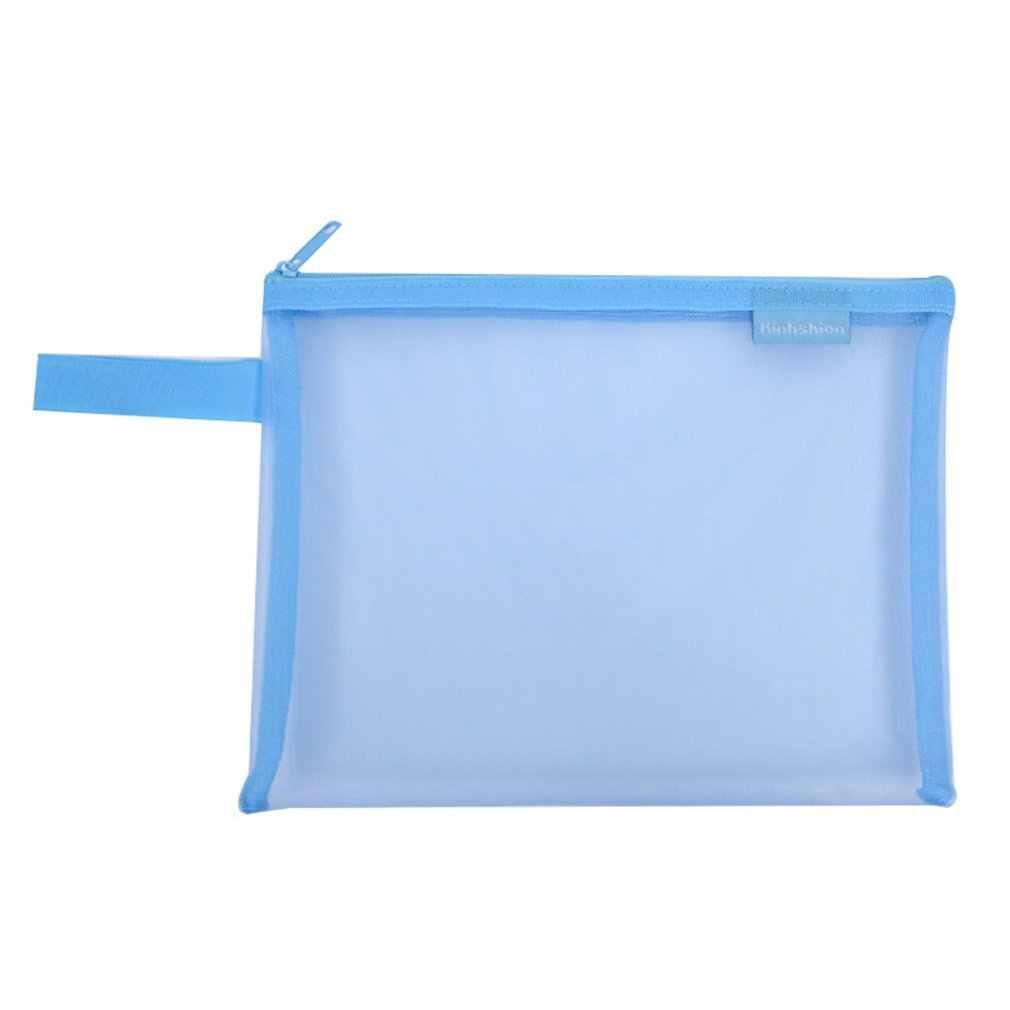 Transparent Student Pen Bag Canvas Gauze Soft Fine Mesh Zipper Portable Storage Pouch School Stationery Bag Hot