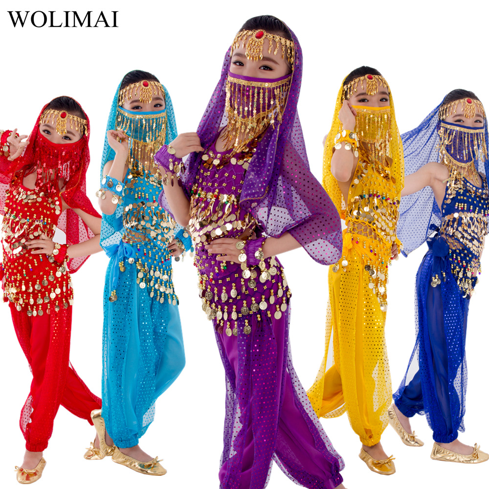 Child Costume Belly Dancer Belt Pants Veil Accessories For Wings Kids Bollywood Dress Girls Belly Dance Costume Set 2-8Pieces