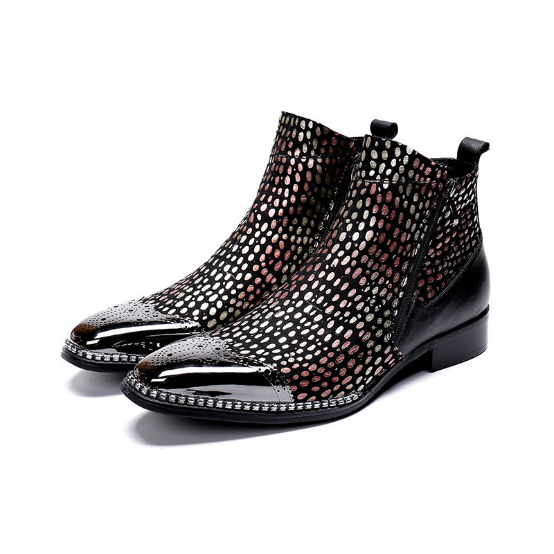 Genuine Leather Double Zipper Ankle Boots Fashion Wave Point Bullock Carved Dress Shoes Pointed Toe Martin Boots Big Size 46