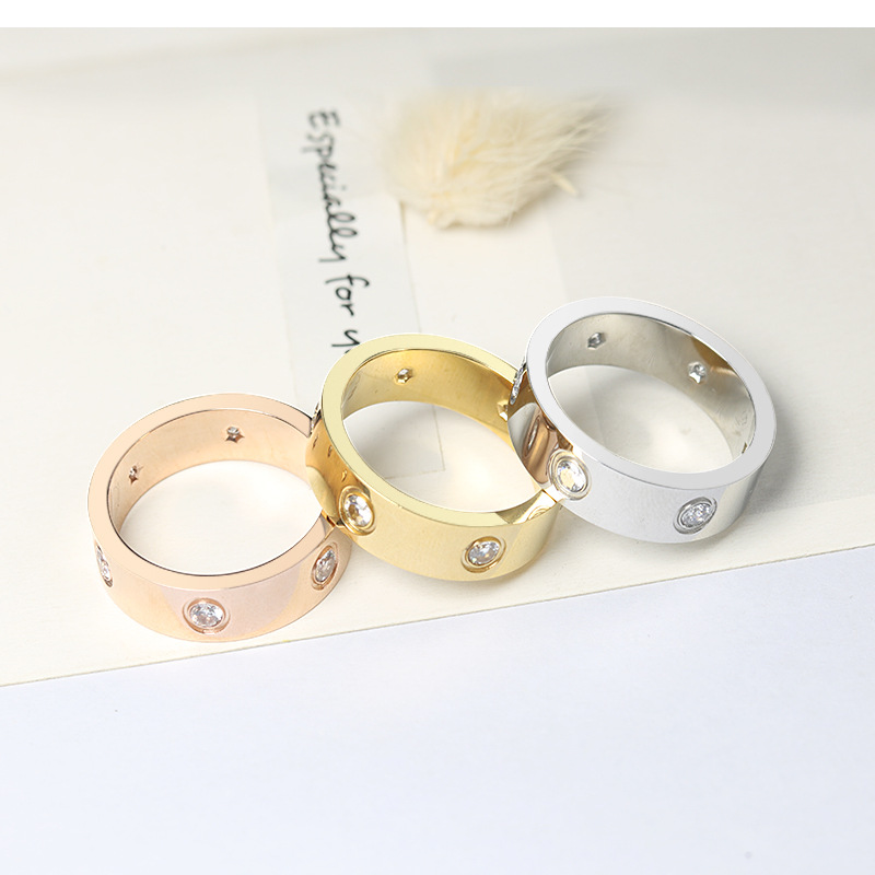 Fashion Philip's Head Screw Zircon Ring Simple Stainless Steel Men's Ring Rose Gold Women's Ring Hot Sale 4