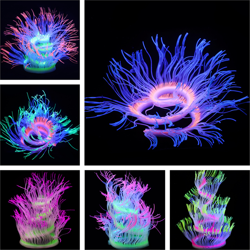 New Flexible Style Silicone Aquarium Coral Anemone Decoration Artificial Fish Tank Sea Anemone Ornament Glowing In Light