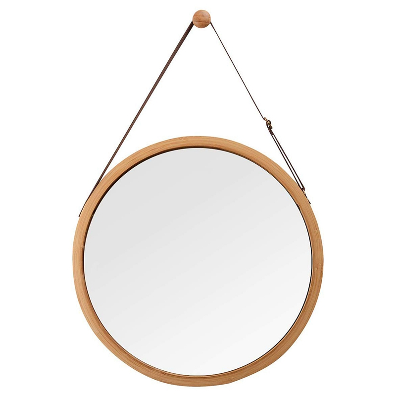 Hanging Round Wall Mirror In Bathroom & Bedroom - Solid Bamboo Frame & Adjustable Leather Strap Promotion