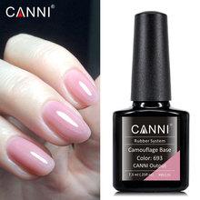 CANNI ซัพพลายใหม่มาถึง soak off gelpolish สี Lacquer storng LED ยาวนาน Nude Pink camouflage ยาง basecoat เล็บเจล