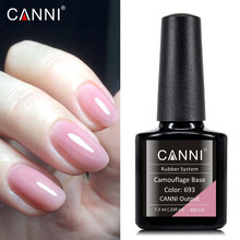 Suministros CANNI, recién llegado, esmalte de gel de color soak off, laca led de almacenamiento de larga duración, gel de uñas basecoat de goma de camuflaje color rosa nude
