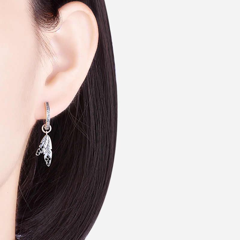XiaoJing yeni tasarım 100% 925 ayar gümüş hint kabile tüy saplama küpe temizle CZ küpe kadınlar için takı hediye 2019