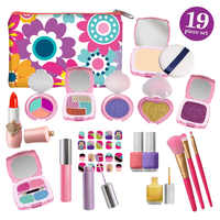 Girls Makeup Kit - False Makeup Palette Set Hair Chalks,Lipstick/Blush/Brush My First Purse Toy Gift Pretend Makeup Set for girl
