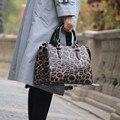 Padrão de leopardo impresso bolsa feminina \ bolsa de couro genuíno feminino grande tote sacos de ombro do couro das senhoras crossbody 18b57