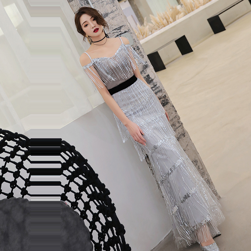 Evening Dress Off The Shoulder Women Party Dresses 2019 Sexy Sling Sleeveless Robe De Soiree Boat Neck Sequin Formal Gowns F141