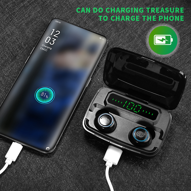 Noise cancelling Earphone earbuds V5.0 TWS Touch Control Stereo with power bank