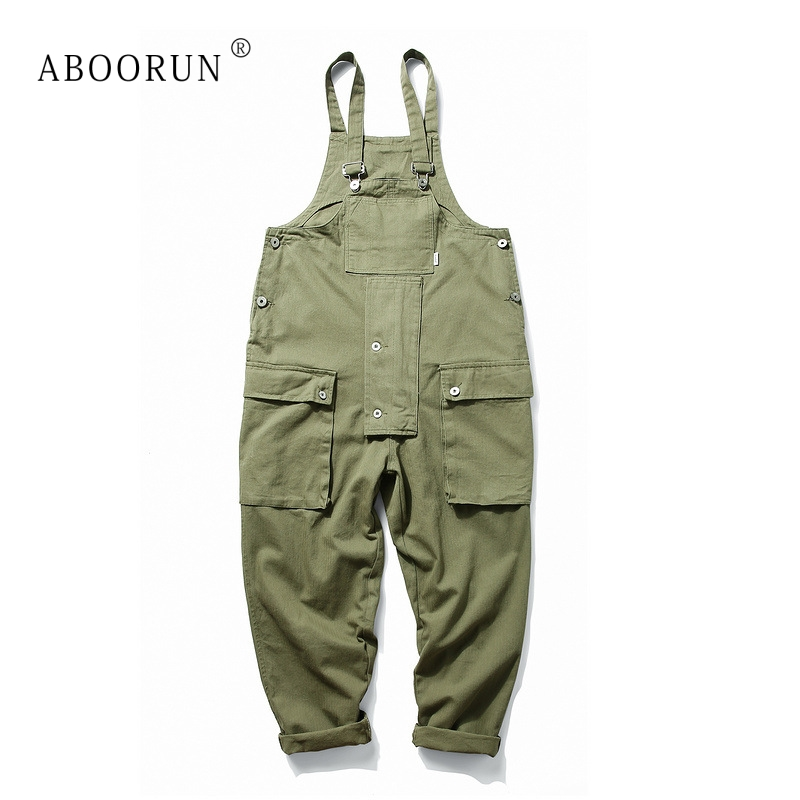 ABOORUN Men's Harajuku Bib Overalls Big Pockets Casual Rompers Jumpsuits Black Army Suspender Flared Straight Fit Pants For Male