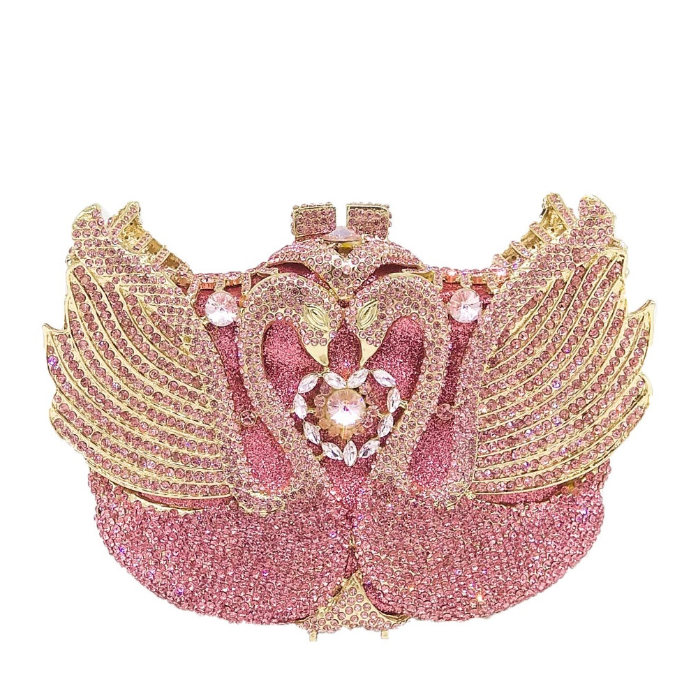 Boutique De FGG Luxury Pink Crystal Swan Minaudiere Clutch Women Evening Bags Wedding Purses Party Cocktail Handbags