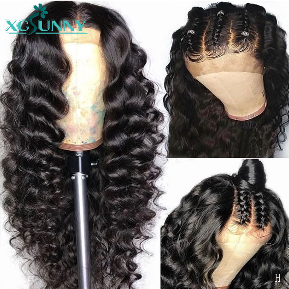 13x6 Deep Wave Lace Front Wig Deep Parting Brazilian Remy Human Hair Lace Frontal Wigs Pre Plucked With Baby Hair 130 Density