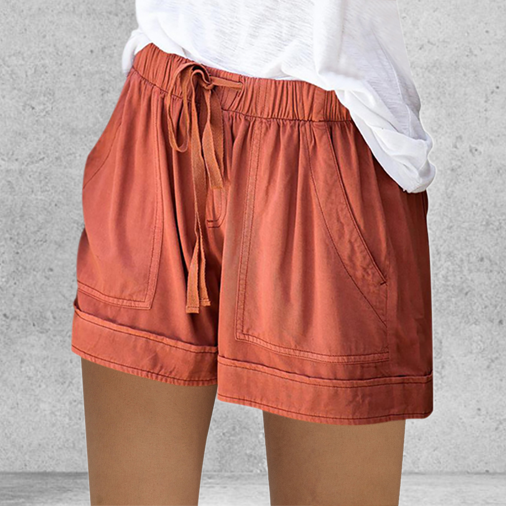 CALOFE 2020 Summer Style Shorts Women Candy Color Elastic With Belt Short Women Home Casual Cotton Shorts
