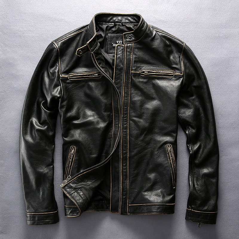 Men's vintage genuine with pockets korean style stand collar slim fit cow leather coat men motorcycle jacket male