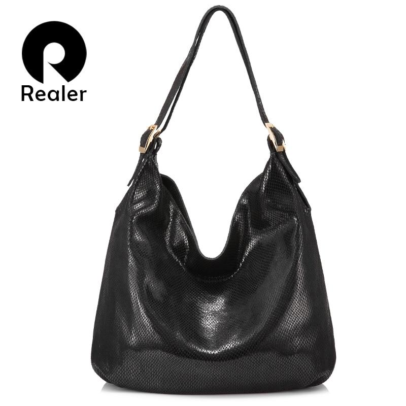 REALER Women Handbag Genuine Leather Shoulder Bag Female Hobos Bag Big Serpentine Prints Large Capacity Tote Bag Fashion Silver