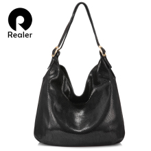 REALER women handbag genuine leather shoulder bag female hob