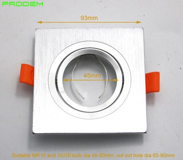 DIY أطقم 6 حزمة مربع الألومنيوم led أسفل تركيب المصابيح حافة ل MR16 GU10 حامل إطار ضياء 50 مللي متر rotable أدى أضواء تركيبات