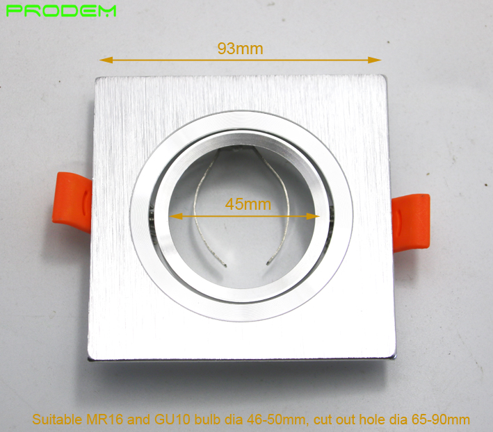 DIY KITS 6 PACK Square Aluminum Led Down Light Fixture Brim For MR16 GU10 Holder Frame Dia 50mm Rotable Led Spotlight Fittings