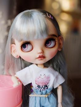 1/6 blyth doll toy bjd joint body white with skin Grey hair fashion girl makeup doll with 19joint body makeup face naked doll