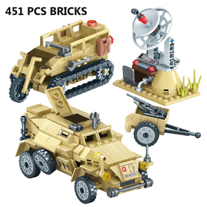 Image 2 - 400+Pcs Toy Blocks Army Soldiers Weapon Building Blocks Military Camp Trucks Jeeps Car Set Blocks  CompatibleToys For Child