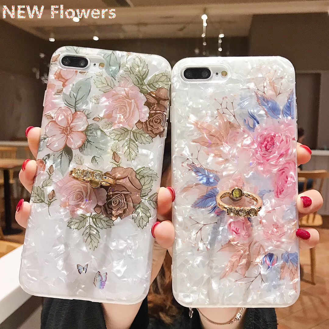 Vintage Floral Shell Case Ring Kickstand untuk Dudukan iPhone 11 Pro XS XR Max X 6 6 S 7 8 PLUS Pelindung Layar Soft Cover