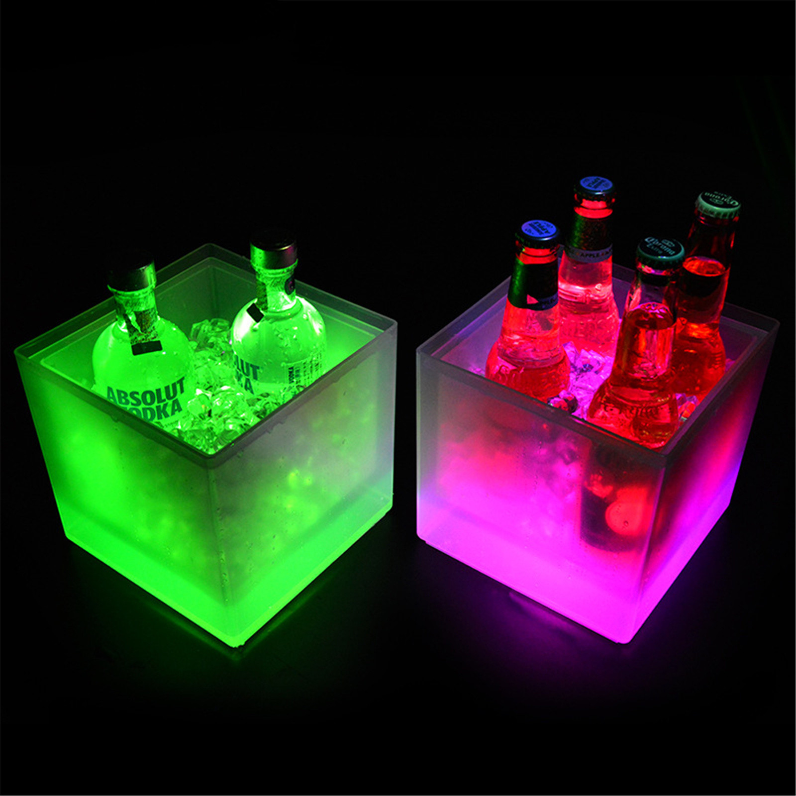 Light-up Ice bucket LED Color Changing Double Layer Iced Champagne Beer Beverage Freezing Bar Club Party Supplies Fashion Decor