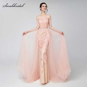 Elegant Evening Dresses Long Blush Dubai Arabic Tulle Beading Applique Formal Sleeveless Party Gowns Women Robe De Soiree LSX576 - DISCOUNT ITEM  30% OFF All Category