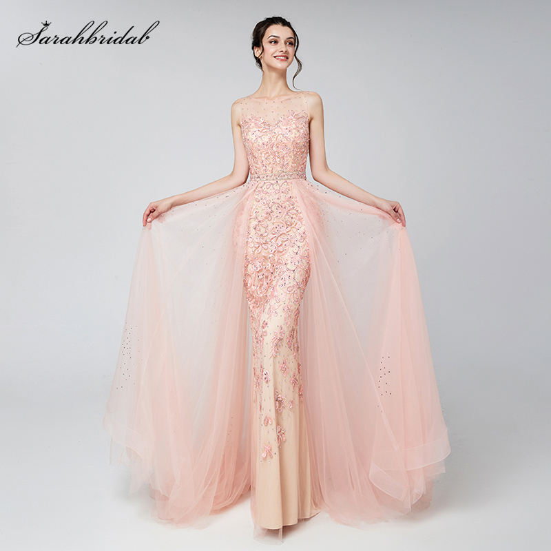 Elegant Evening Dresses Long Blush Dubai Arabic Tulle Beading Applique Formal Sleeveless Party Gowns Women Robe De Soiree LSX576 title=