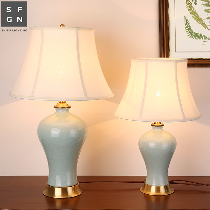 Copper Table Lamp Bedside Lamp Jingdezhen Ceramic Lamp High-end Luxury Table Lamps For Living Room Decorated Bedroom Led Lamps