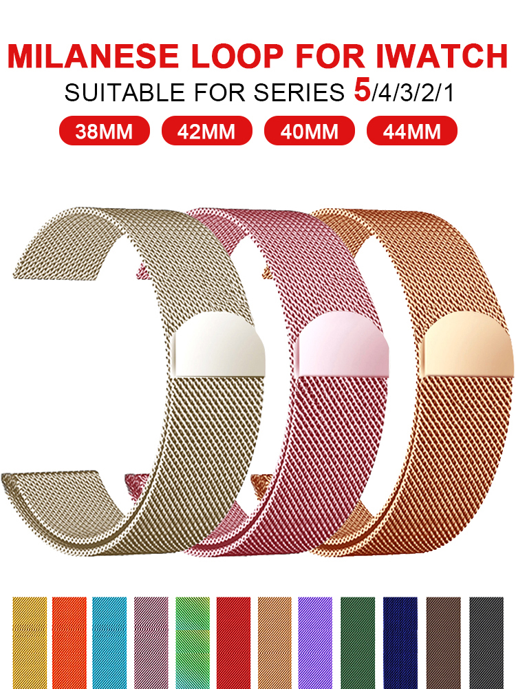 Bracelet Stainless-Steel-Band Watch-Series Milanese-Loop Apple 40mm for 12-3 42mm 38mm