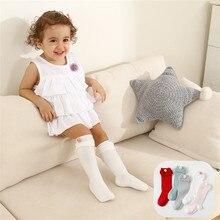 Wecute bebê meninas bola de cabelo algodão joelho meias altas recém-nascidos perna mais quente outono inverno meias longas crianças meias de algodão macio para 0-3y