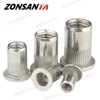 цена на ZONSANTA Rivet Nut 304 Stainless Steel M4 M5 M6 M8 M10 Rivnut Flat Head Threaded Rivet Insert Nutsert Cap Perforated Rivet Nuts