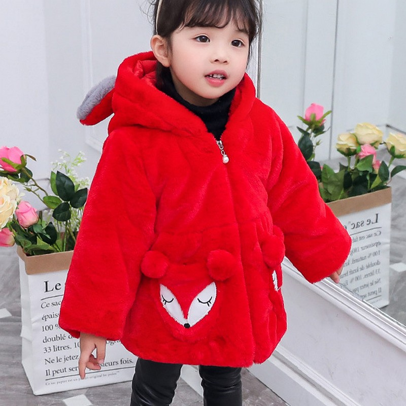 Solid Color Coat for Girl Warm Wool Girls Hooded Jacket Embroidery Zipper Baby Autumn Winter