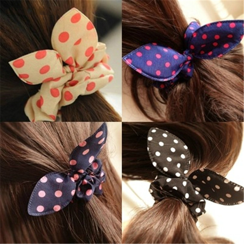 Rabbit Ears Hair Band Children Kids Hair Accessories Scrunchies Elastic Hair Band For Women Girl Rubber Band Polka Dot