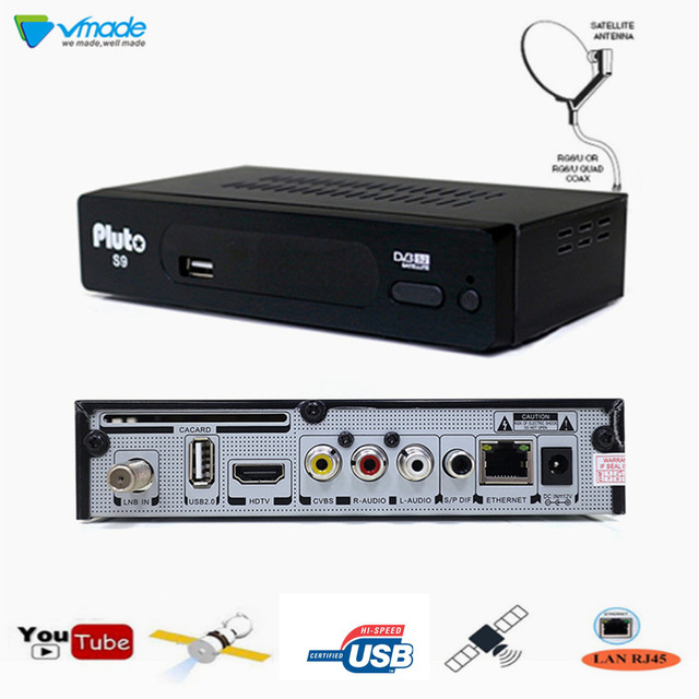 S2 Pluto S9 HD Digital Satellite Receiver DVB S2 TV Tuner Receptor                MPEG/4 H.264 Support Youtube Bisskey USB WiFi