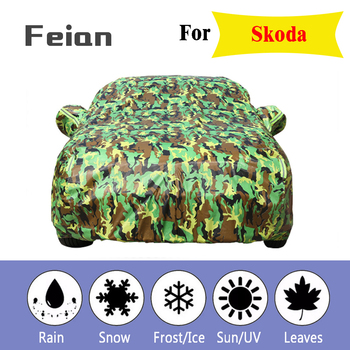 Waterproof camouflage car cover outdoor sun protect cover reflector dust rain snow protective suv sedan Hatchback for Skoda