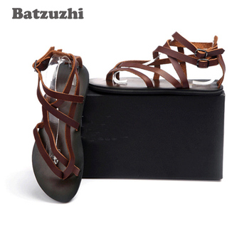 2020 New Summer Men's Shoes Fashion Genuine Leather Sandal Shoes Men Sandalias Mujer Gladiator Men's Sandalias , Big Size 38-46