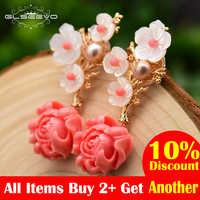 GLSEEVO réel 925 argent Sterling rose corail boucles d'oreilles goutte blanc perle rose pierre naturelle coquille fleur Dangle boucles d'oreilles GE0024