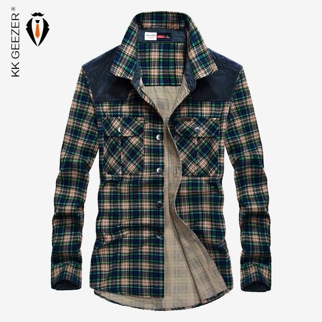 Camisa Hombre Plaid militar 100% algodón Manga larga 2019 Franela masculina Otoño Botones Camisas casuales Marca de lujo Vestido a cuadros de alta calidad Streetwear Camisas para hombre Camisa casual con botones